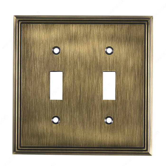 plaque d 39 interrupteur 2 prises bascule style. Black Bedroom Furniture Sets. Home Design Ideas